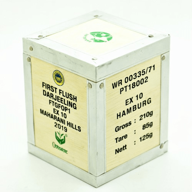 Darjeeling Maharani Hills FTGFOP1 - First Flush - Mini Cofre de madera 125g