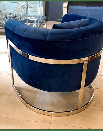 Sillon Brigitte Velvet Azul Base Plata