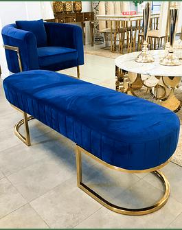 Banqueta Sabinna Velvet Azul