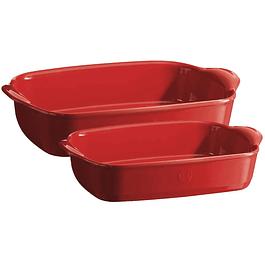 Set 2 fuentes lasañeras pequeña/mediana rojas