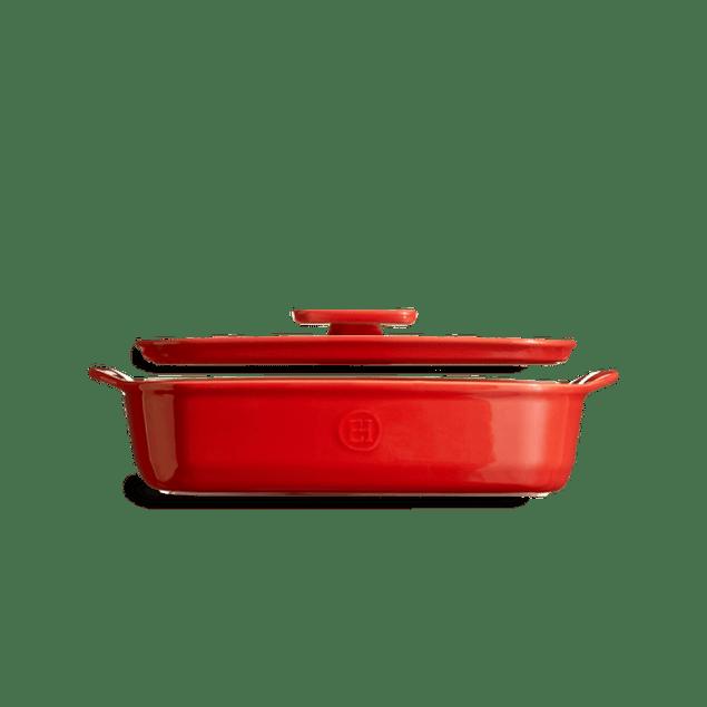 Fuente para horno con tapa rectangular mediana roja