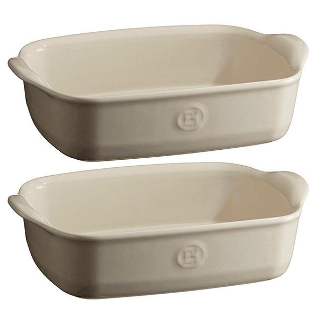 Set de regalo 2 Fuentes para horno rectangulares individuales crema
