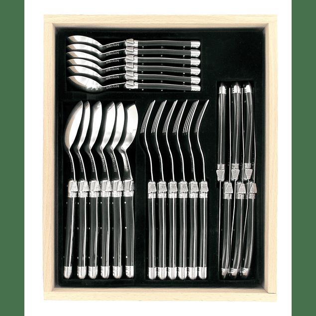 Set de 24 cubiertos Laguiole by Andre Verdier color Negro