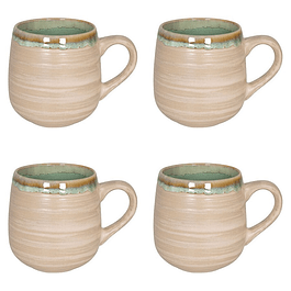 Set 4 Mugs NATURE GREEN SAND