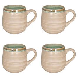 Set 4 Mugs NATURE GREEN SAND