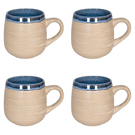 Set 4 Mugs NATURE BLUE SAND