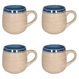 Set 4 Mugs NATURE BLUE SAND