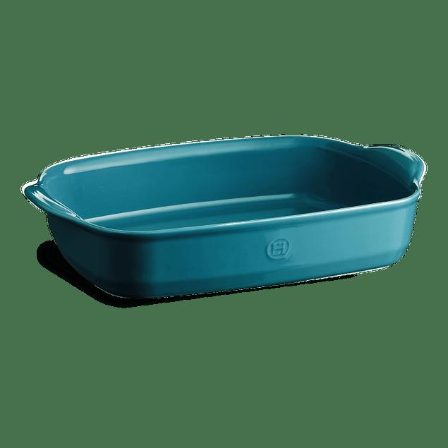 Fuente para horno rectangular grande azul