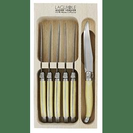 Set 6 Tenedores Postre Hueso