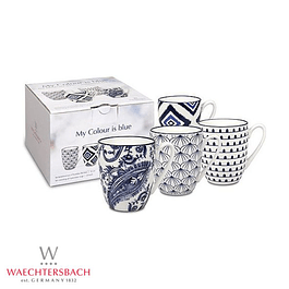 Set de 4 tazas MY COLOUR IS BLUE en caja de regalo