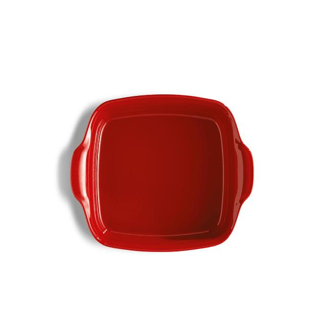 Fuente para horno cuadrada roja