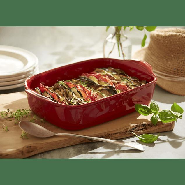 Fuente para horno rectangular pequeña roja