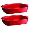 Set de regalo 2 Fuentes para horno rectangulares individuales rojas