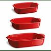Set de regalo 3 Fuentes para horno rectangulares individual, pequeña y mediana rojas