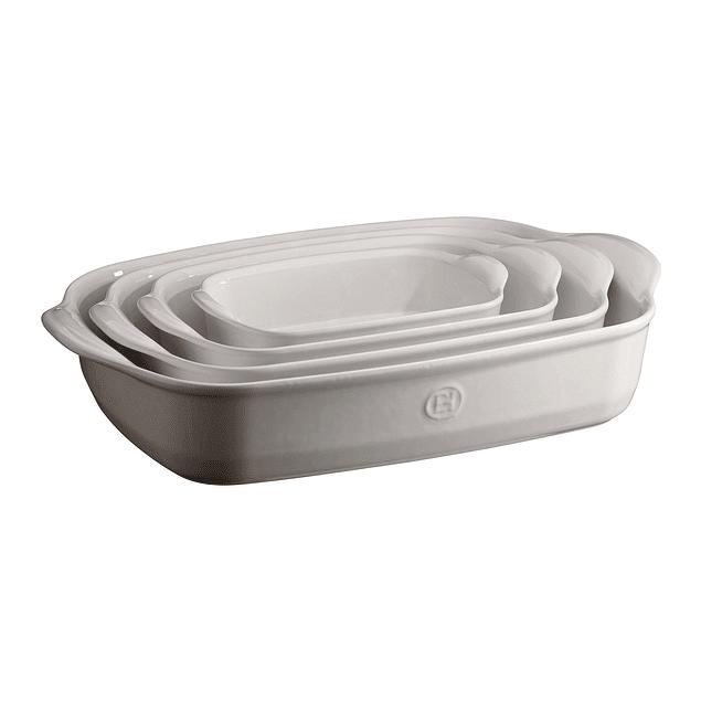 Fuente para horno rectangular individual blanca