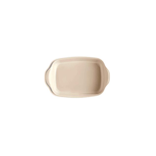 Fuente para horno rectangular individual crema