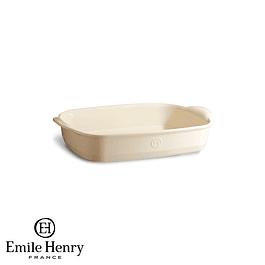 Fuente para horno rectangular pequeña crema