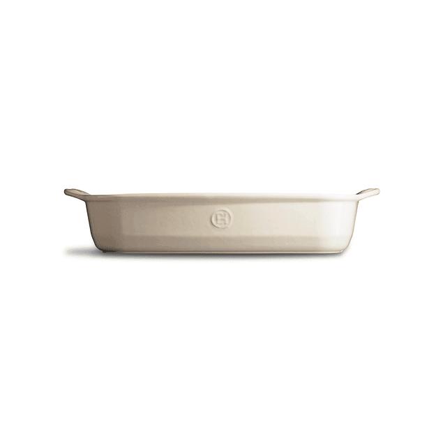 Fuente para horno rectangular mediana crema