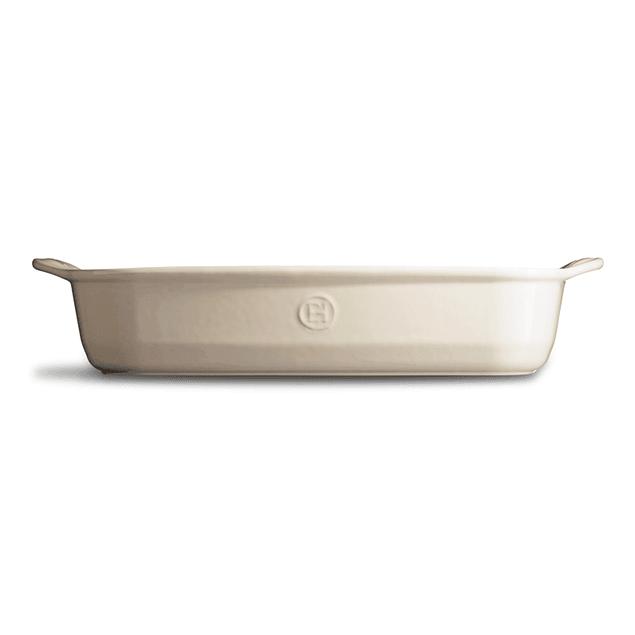 Fuente para horno rectangular grande crema