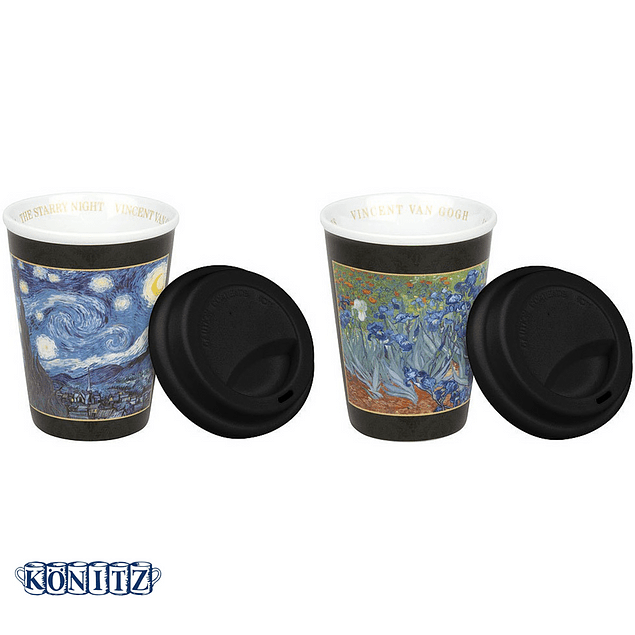 Set 2 Travel c/tapa de silicona Van Gogh STARRY NIGHT - IRISES
