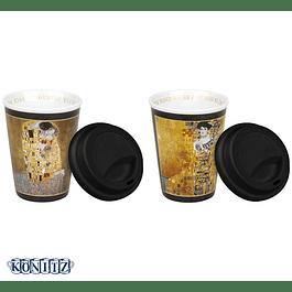 Set 2 Travel c/tapa de silicona Klimt THE KISS - ADELE BLOCH