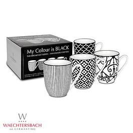 Set de 4 tazas MY COLOUR IS BLACK en caja de regalo