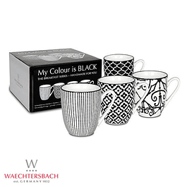 Set de 4 tazas MY COLOUR IS BLACK en caja de regalo