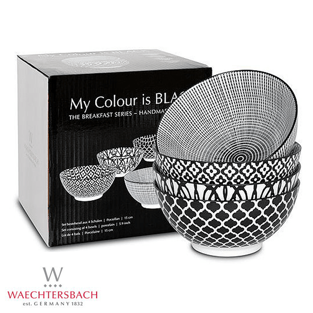 Set de 4 bowls MY COLOUR IS BLACK en caja de regalo