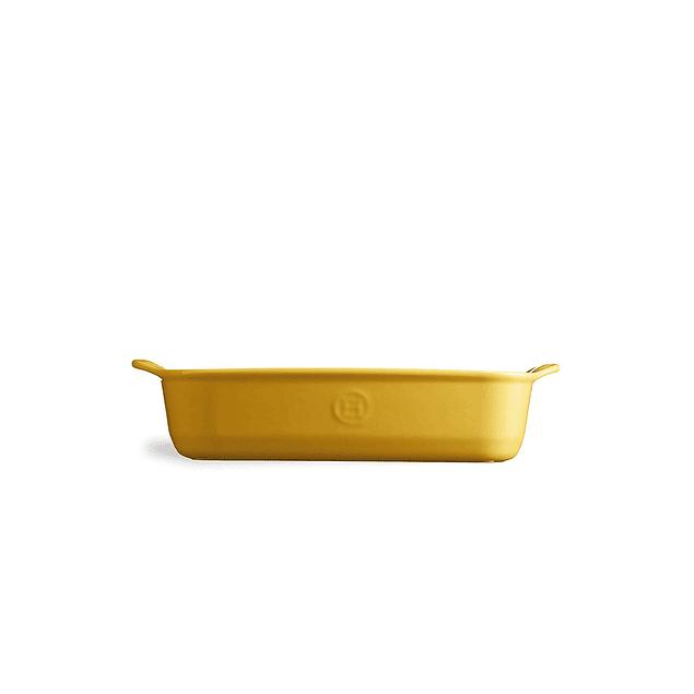 Fuente para horno rectangular pequeña amarilla
