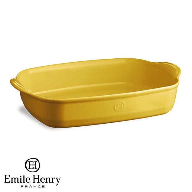 Fuente para horno rectangular grande amarilla