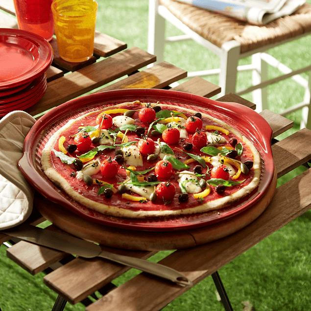 Plato para pizza rojo