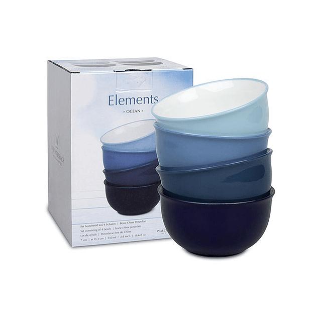 Set 4 bowls c/caja de regalo ELEMENTS OCEAN