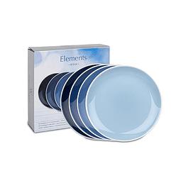 Set 4 platos 19 cm c/caja de regalo ELEMENTS OCEAN