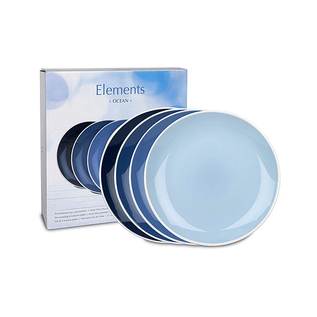 Set 4 platos de cena 28 cm c/caja de regalo ELEMENTS OCEAN