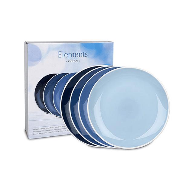 Set 4 platos de cena 28 cm c/caja de regalo ELEMENTS OCEAN