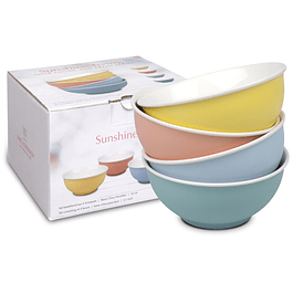SET 4 BOWLS C/CAJA DE REGALO SUNSHINE LIVING