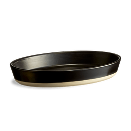 Plato ovalado artesanal negro satinado