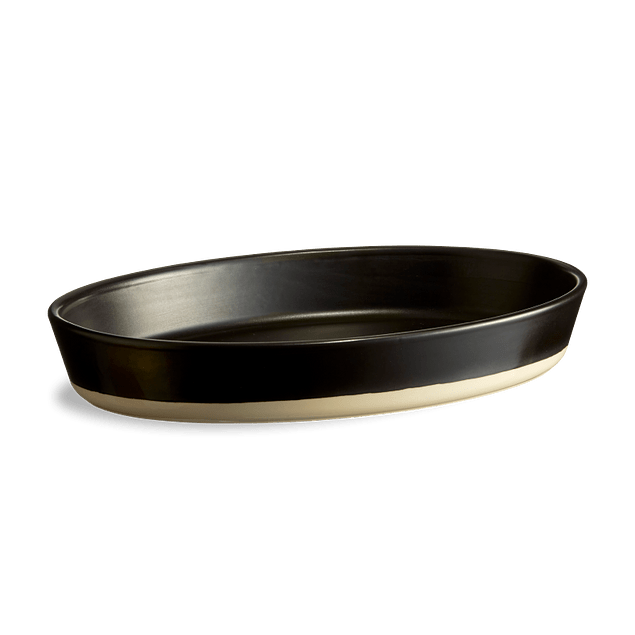 Fuente ovalada artesanal negro satinado