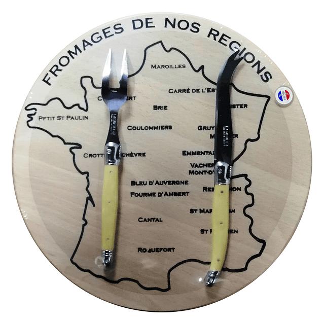 Set de queso Laguiole by Andre Verdier - color Hueso con tabla diseño Francia