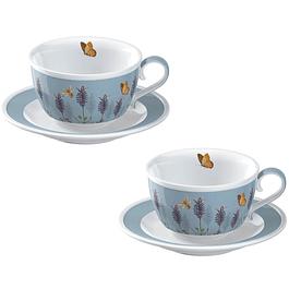 Set 2 tazas con platillo Lavanda
