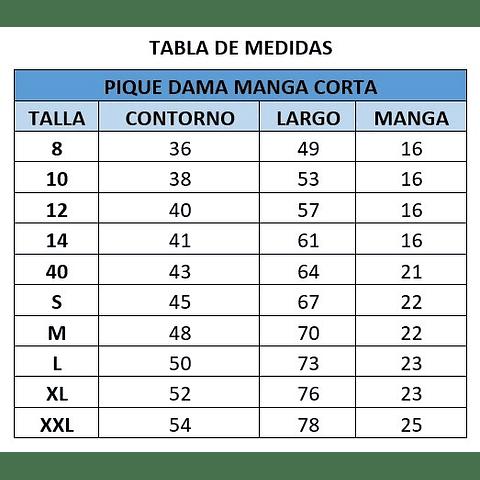 PIQUE DE DAMA MANGA CORTA CC.CHIGUAYANTE