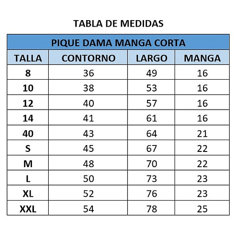 PIQUE DE DAMA MANGA CORTA