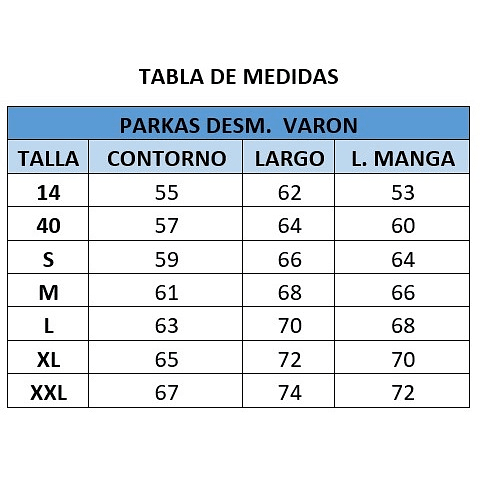 PARKA DESMONTABLE VARON  CC. SAN PEDRO