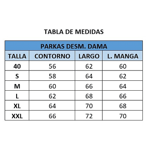 PARKA DESMONTABLE DAMA CC. SAN PEDRO