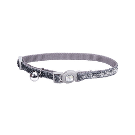 Collar Brillante Safe Cat Plateado