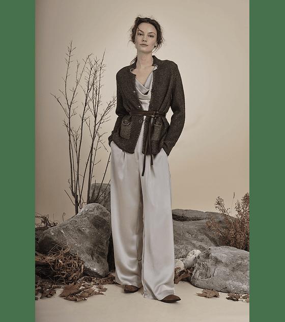 Chaqueta tejida gris oscuro, lana metálica