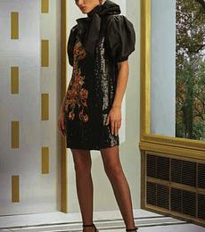 Vestido negro lentejuelas con flor