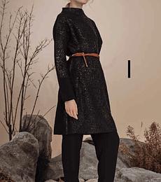 Vestido tejido negro, laminado
