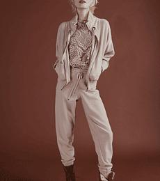 Pantalón de lana y cashmere tejido