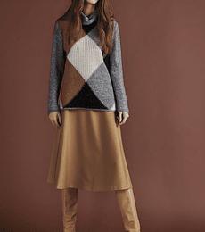 Sweater con rombos 14% mohair cuello alto